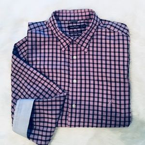 Nautica Pink and Black Gingham Checked Button Down